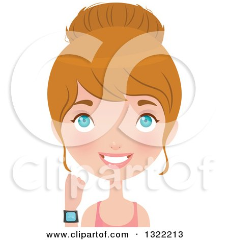 Clipart Of A Happy Blue Eyed Caucasian Woman In Fitness Apparel Showing Her Sports Watch Royalty Free Vector Illustration