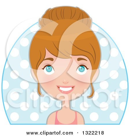 Clipart of a Happy Blue Eyed Caucasian Woman in Fitness Apparel, Smiling over Polka Dots - Royalty Free Vector Illustration by Melisende Vector