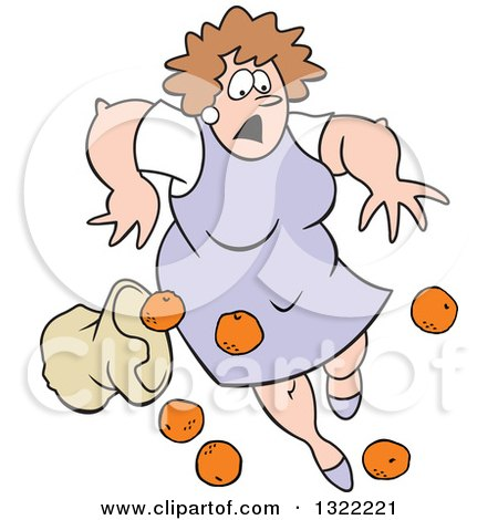 Clipart of a Cartoon Caucasian Matron Woman Tripping and Dropping a Bag of Oranges - Royalty Free Vector Illustration by Johnny Sajem