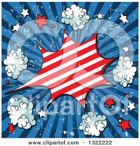 Clipart of a Comic Styled Patriotic Fourth of July Burst with Stars and Puffs on Blue Grungy Rays - Royalty Free Vector Illustration by Pushkin