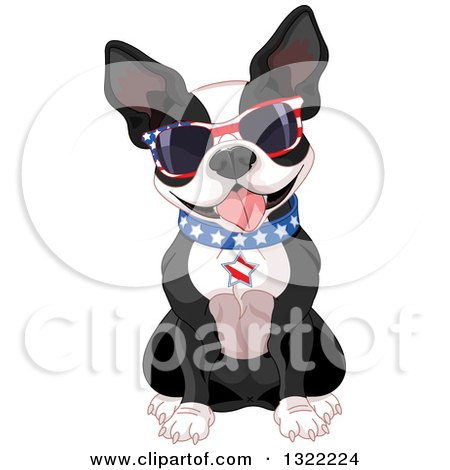 Clipart of a Cute American Patriotic Boston Terrier Dog Sitting and Wearing Sunglasses and a Collar - Royalty Free Vector Illustration by Pushkin