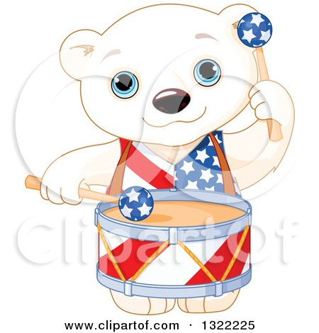 Clipart of a Cute Patriotic American Polar Bear Cub Playing Drums - Royalty Free Vector Illustration by Pushkin