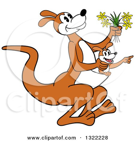 Clipart of a Cartoon Kangaroo Holding Flowers and Hopping with a Joey in Her Pouch - Royalty Free Vector Illustration by LaffToon