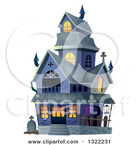 Clipart of a Haunted Halloween House - Royalty Free Vector Illustration by visekart
