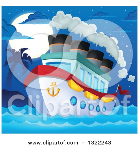 Clipart of a Cartoon Cruise Ship with Steam by a Tropical Island Under a Full Moon at Night - Royalty Free Vector Illustration by visekart