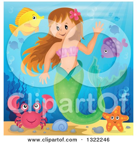Clipart of a Happy Caucasian Female Mermaid Waving, Surrounded by Sea Creatures - Royalty Free Vector Illustration by visekart