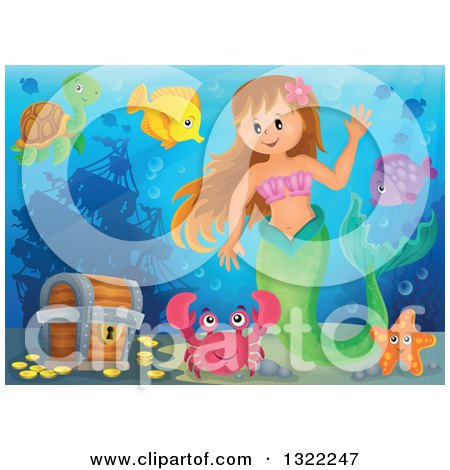 Clipart of a Happy Caucasian Female Mermaid Waving, by a Treasure Chest, Surrounded by Sea Creatures - Royalty Free Vector Illustration by visekart