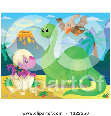 Clipart of a Happy Green Apatosaurus Dinosaur and Pterodactyl with a Hatchling - Royalty Free Vector Illustration by visekart