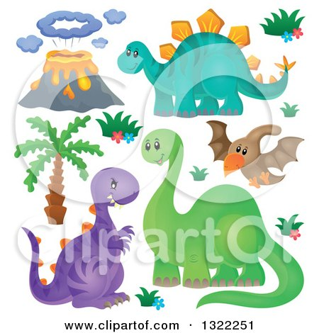 Clipart of a Palm Tree, Volcano, and Dinosaurs - Royalty Free Vector Illustration by visekart
