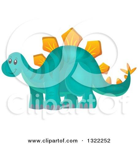 Clipart of a Happy Stegosaurus Dinosaur - Royalty Free Vector Illustration by visekart