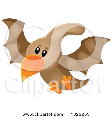 Clipart of a Happy Cute Pterodactyl Dinosaur in Flight - Royalty Free Vector Illustration by visekart