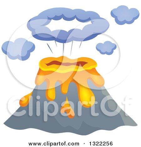Clipart of a Cartoon Bursting Volcano - Royalty Free Vector Illustration by visekart