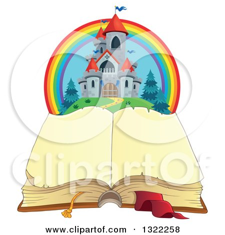 Clipart of a Fairy Tale Castle and Rainbow over an Open Book - Royalty Free Vector Illustration by visekart