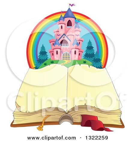 Clipart of a Pink Fairy Tale Castle and Rainbow over an Open Book - Royalty Free Vector Illustration by visekart