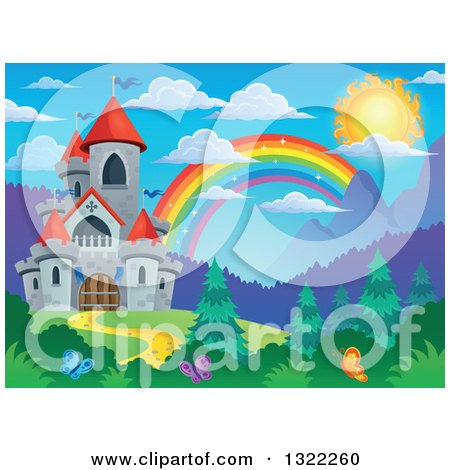 Clipart of a Fairy Tale Castle and Rainbow in a Spring Landscape - Royalty Free Vector Illustration by visekart