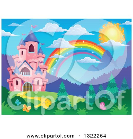 Clipart of a Pink Fairy Tale Castle and Rainbow in a Spring Landscape - Royalty Free Vector Illustration by visekart