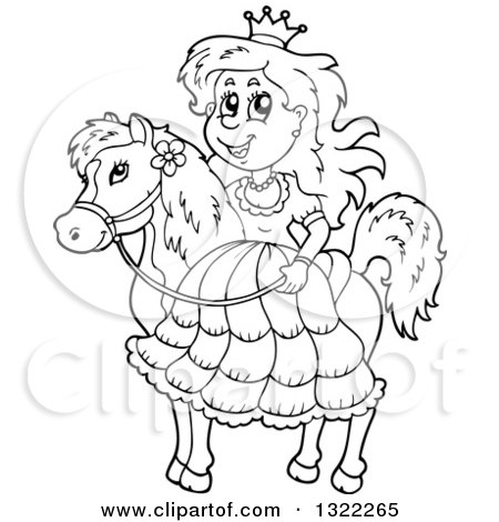 Lineart Clipart of a Black and White Horseback Princess - Royalty Free Outline Vector Illustration by visekart