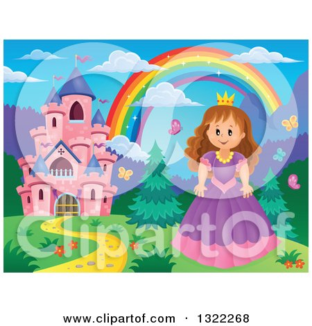 Clipart of a Pink Fairy Tale Castle, Princess and Rainbow in a Spring Landscape - Royalty Free Vector Illustration by visekart