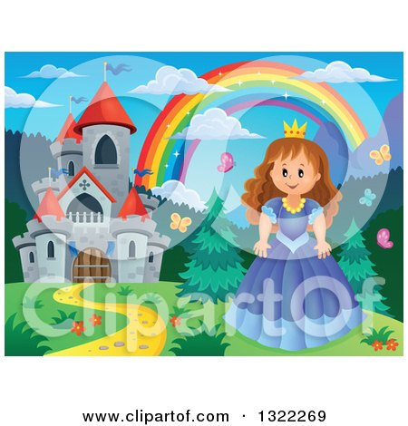 Clipart of a Fairy Tale Castle, Princess and Rainbow in a Spring Landscape - Royalty Free Vector Illustration by visekart