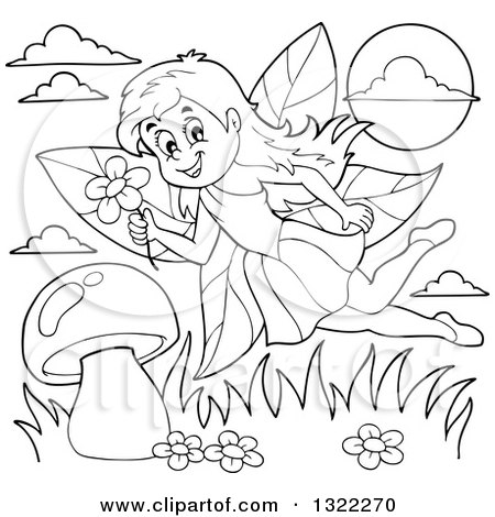 Lineart Clipart of a Black and White Fairy Flying over a Mushroom - Royalty Free Outline Vector Illustration by visekart