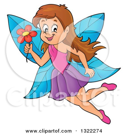 Clipart of a Happy Brunette Caucasian Female Fairy Flying with a Flower - Royalty Free Vector Illustration by visekart