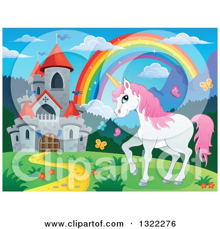 Clipart of a Fairy Tale Castle, Unicorn and Rainbow in a Spring Landscape - Royalty Free Vector Illustration by visekart