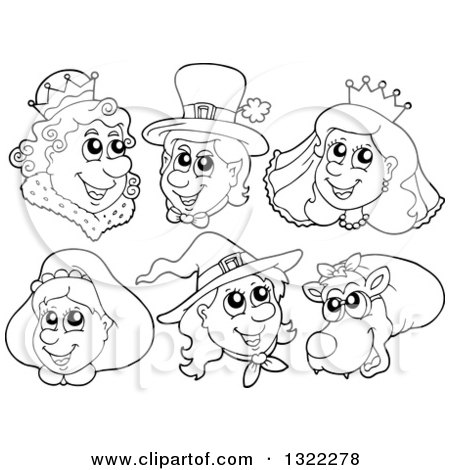 Lineart Clipart of Black and White Fairy Tale Characters - Royalty Free Outline Vector Illustration by visekart