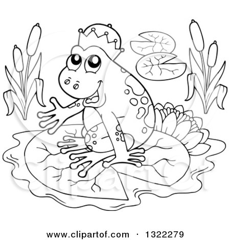 black and white fantasy frog prince sitting on a lily pad