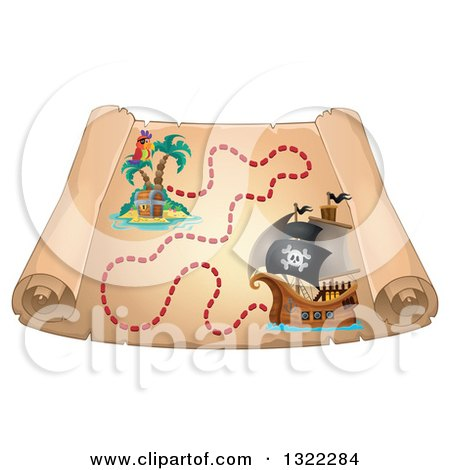Clipart of a Vintage Treasure Map with a Pirate Ship and Parrot on a Treasure Island - Royalty Free Vector Illustration by visekart