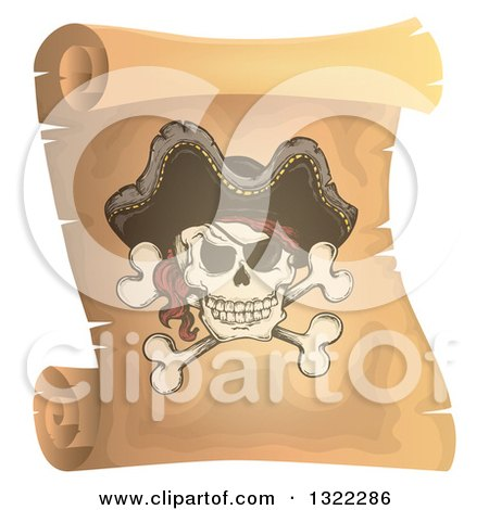 Clipart of a Pirate Skull and Crossbones on a Vintage Scroll - Royalty Free Vector Illustration by visekart