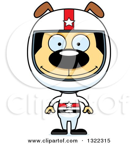 Clipart of a Cartoon Happy Dog Race Car Driver - Royalty Free Vector Illustration by Cory Thoman
