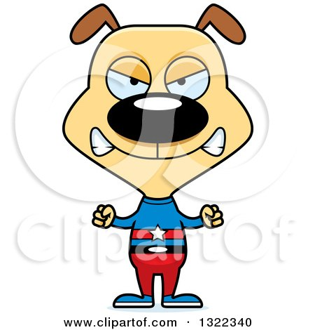 Clipart of a Cartoon Mad Dog Super Hero - Royalty Free Vector Illustration by Cory Thoman