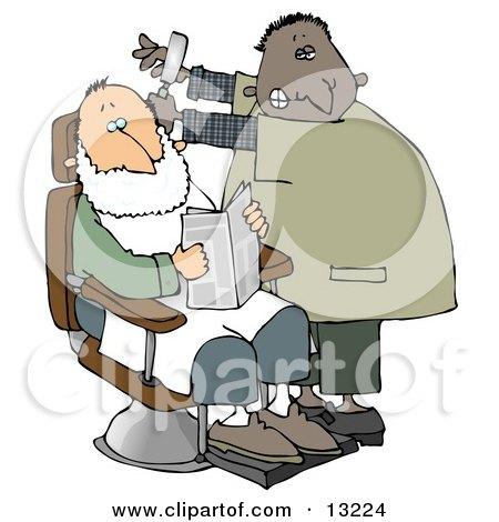 Man Shaving a Client in a Barber Shop Clipart Illustration by djart