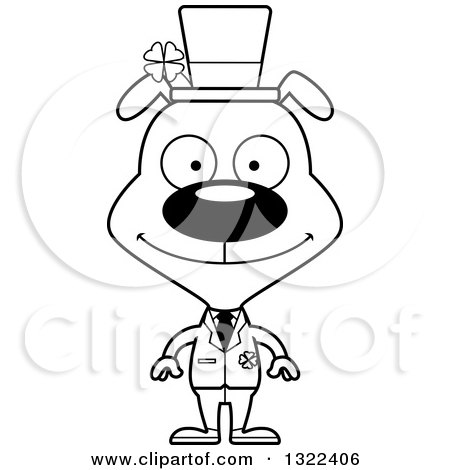 Lineart Clipart Of A Cartoon Black And White Happy St Patricks Day