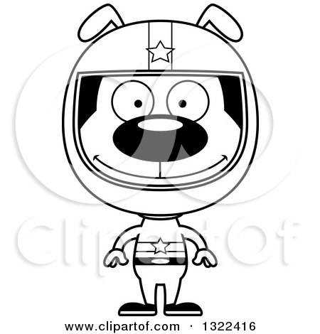 Lineart Clipart of a Cartoon Black and White Happy Dog Race Car Driver - Royalty Free Outline Vector Illustration by Cory Thoman