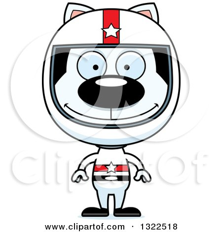 Clipart of a Cartoon Happy White Cat Race Car Driver - Royalty Free Vector Illustration by Cory Thoman