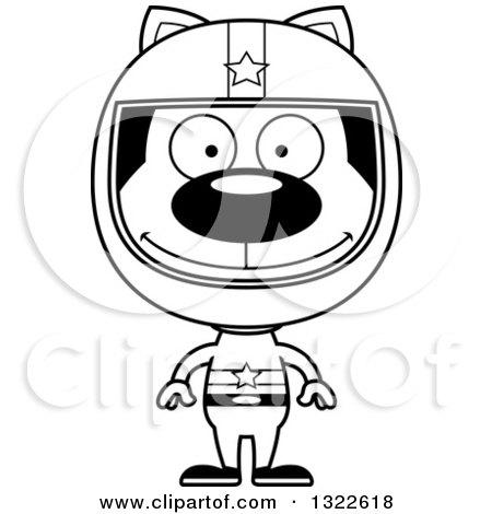 Lineart Clipart of a Cartoon Black and White Happy Cat Race Car Driver - Royalty Free Outline Vector Illustration by Cory Thoman