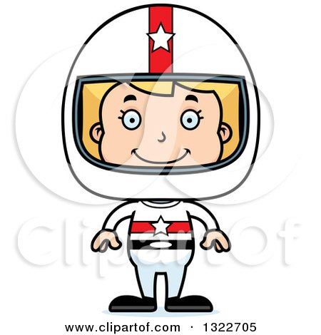 Clipart of a Cartoon Happy Blond White Race Car Driver Girl - Royalty Free Vector Illustration by Cory Thoman