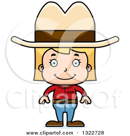 Clipart of a Cartoon Happy Blond White Cowgirl - Royalty Free Vector Illustration by Cory Thoman