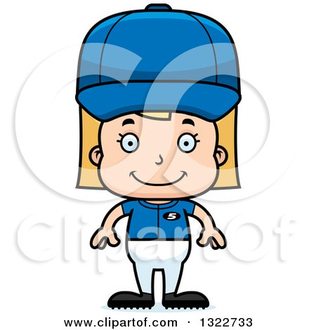 Clipart of a Cartoon Happy Blond White Girl Baseball Player - Royalty Free Vector Illustration by Cory Thoman