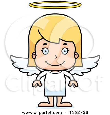 Clipart of a Cartoon Happy Blond White Girl Angel - Royalty Free Vector Illustration by Cory Thoman