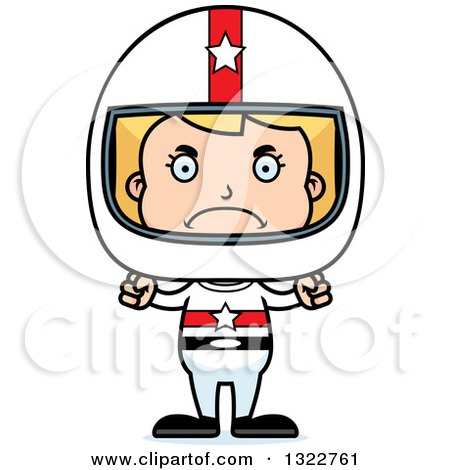 Clipart of a Cartoon Mad Blond White Race Car Driver Girl - Royalty Free Vector Illustration by Cory Thoman