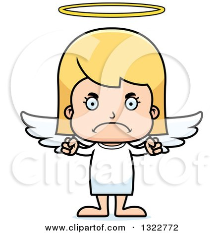 Clipart of a Cartoon Mad Blond White Girl Angel - Royalty Free Vector Illustration by Cory Thoman