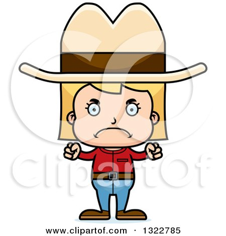 Clipart of a Cartoon Mad Blond White Cowgirl - Royalty Free Vector Illustration by Cory Thoman