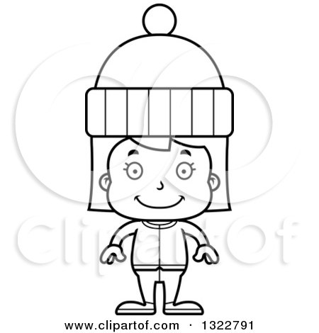 Lineart Clipart of a Cartoon Black and White Happy Girl in Winter Clothes - Royalty Free Outline Vector Illustration by Cory Thoman