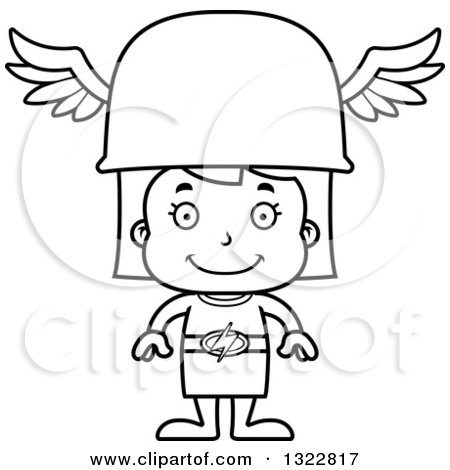 Lineart Clipart of a Cartoon Black and White Happy Hermes Girl - Royalty Free Outline Vector Illustration by Cory Thoman