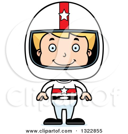 Clipart of a Cartoon Happy Blond White Boy Race Car Driver - Royalty Free Vector Illustration by Cory Thoman