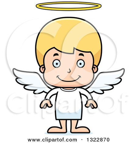 Clipart of a Cartoon Happy Blond White Boy Angel - Royalty Free Vector Illustration by Cory Thoman