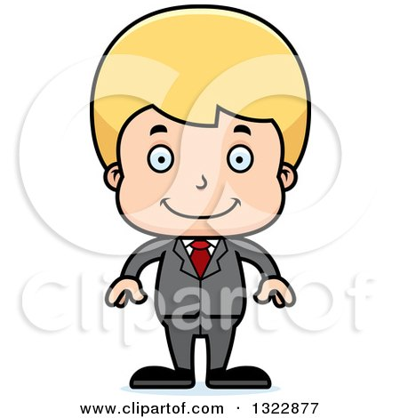 Clipart of a Cartoon Happy Blond White Boy Businessman - Royalty Free Vector Illustration by Cory Thoman