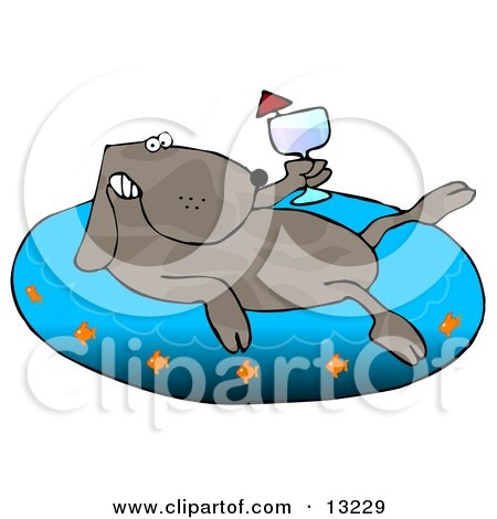 Happy Dog Drinking Wine and Soaking in an Inflatable Kiddie Pool Posters, Art Prints